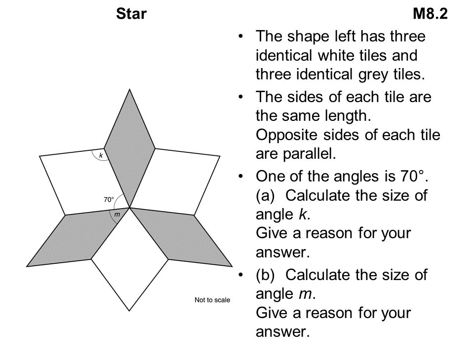 Star M8.2 The shape left has three identical white tiles and three identical grey tiles.