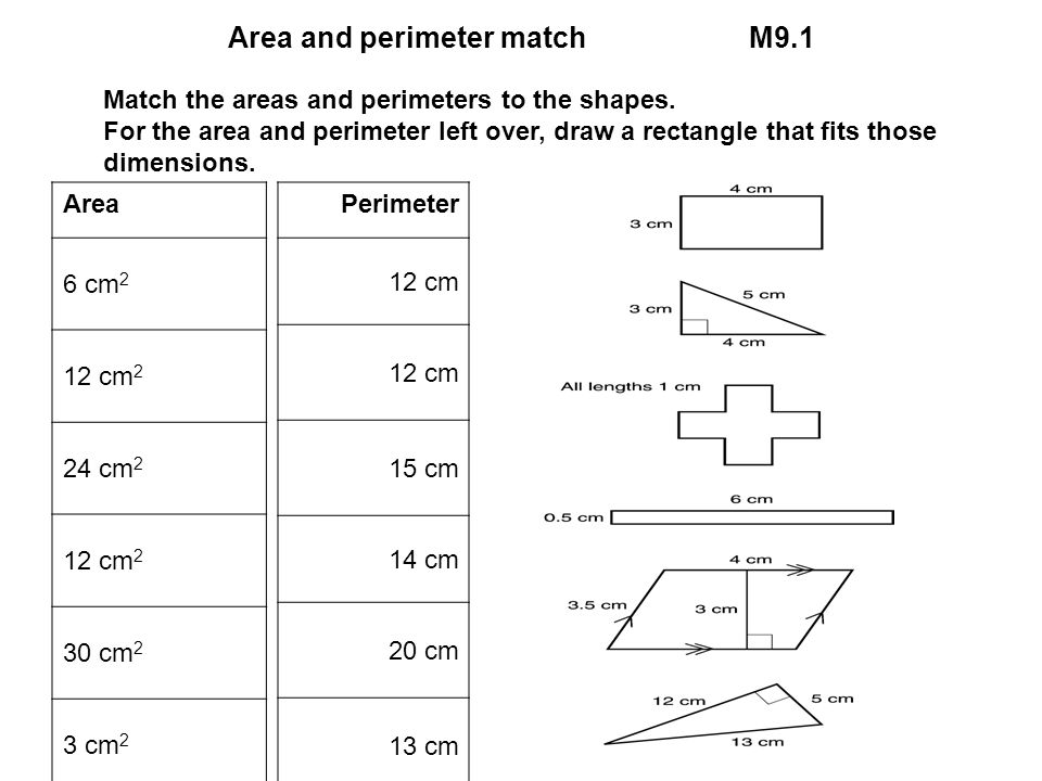 Area and perimeter match M9.1