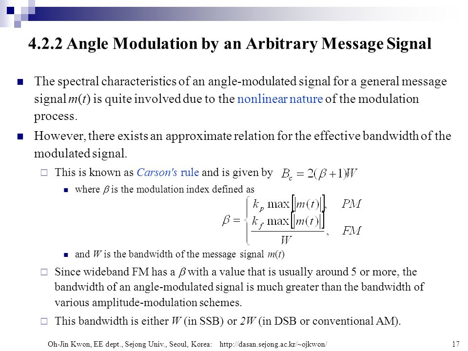 4.2.2 Angle Modulation by an Arbitrary Message Signal