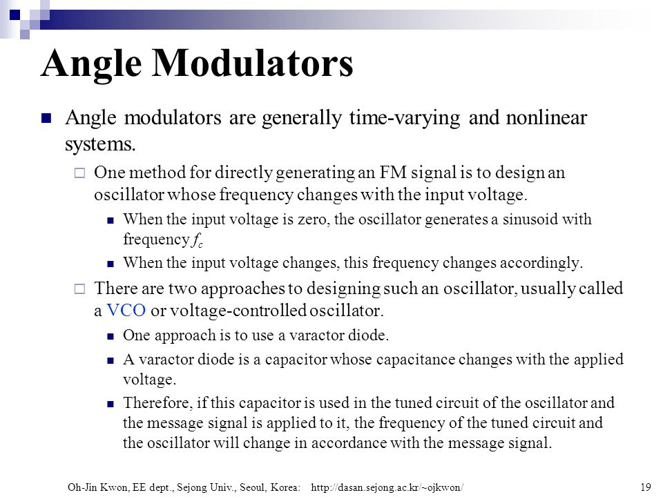 Angle Modulators Angle modulators are generally time-varying and nonlinear systems.