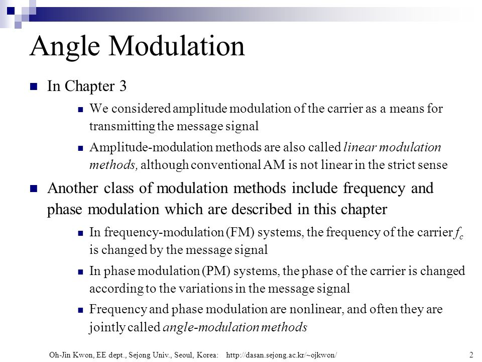 Angle Modulation In Chapter 3