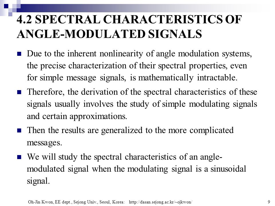 4.2 SPECTRAL CHARACTERISTICS OF ANGLE-MODULATED SIGNALS