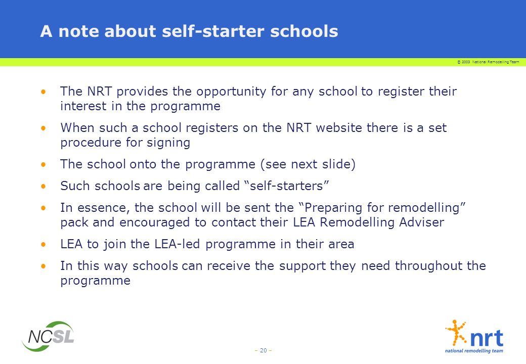 A note about self-starter schools