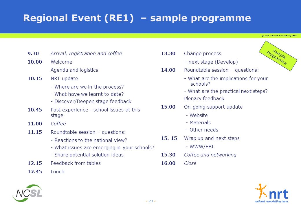 Regional Event (RE1) – sample programme