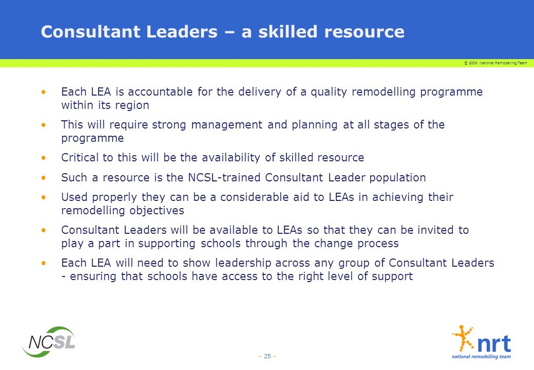 Consultant Leaders – a skilled resource