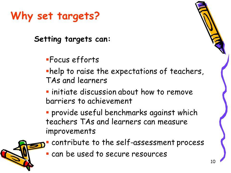 Why set targets Setting targets can: Focus efforts