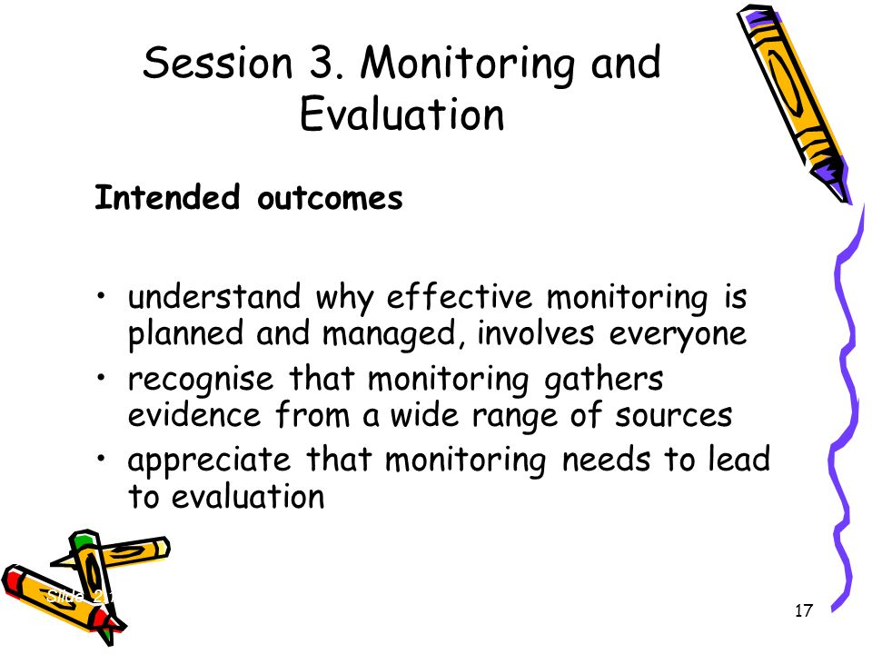 Session 3. Monitoring and Evaluation