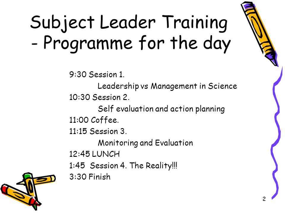 Subject Leader Training - Programme for the day