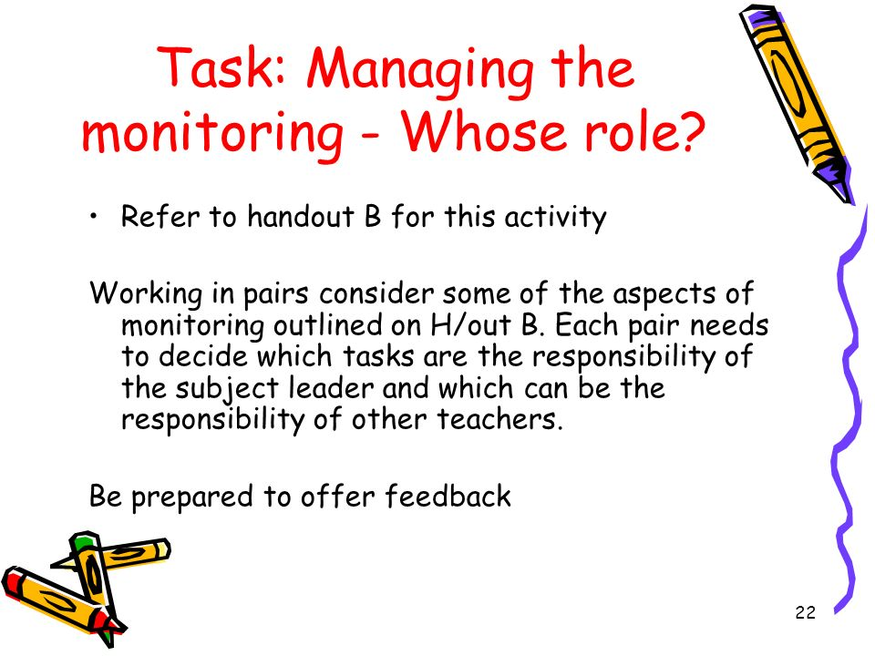 Task: Managing the monitoring - Whose role