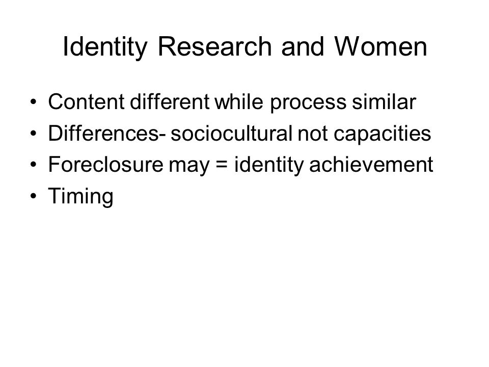 Identity Research and Women
