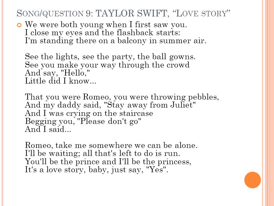 romeo and juliet song taylor swift lyrics