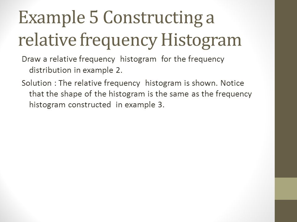Example 5 Constructing a relative frequency Histogram