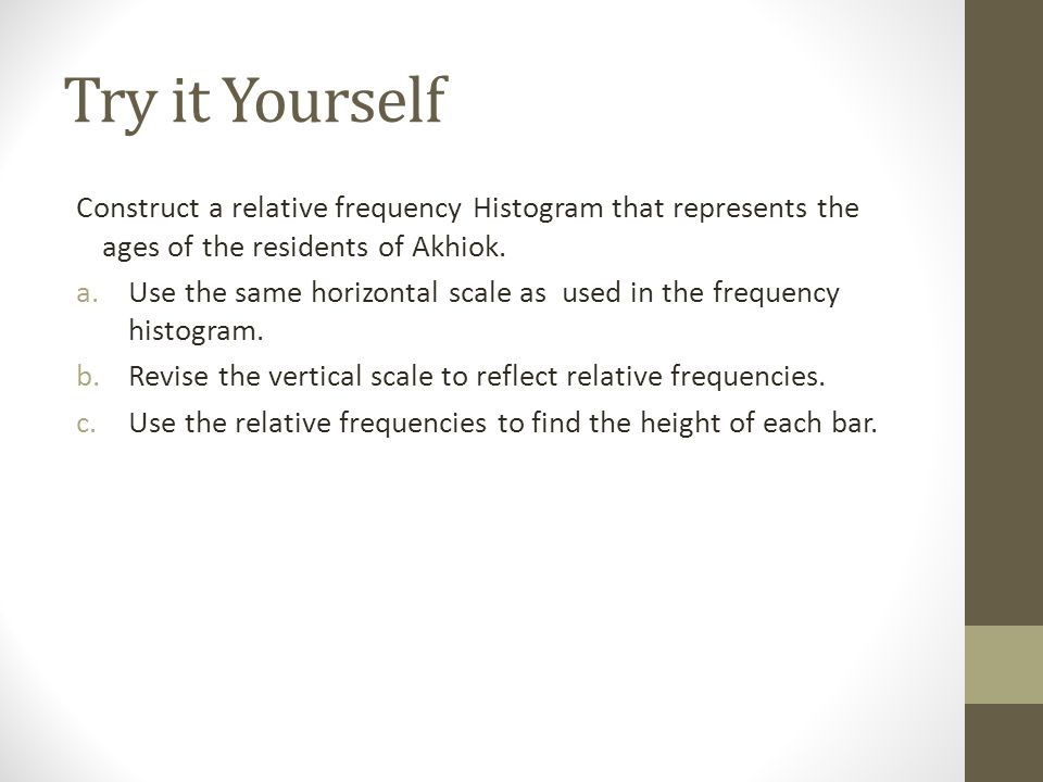 Try it Yourself Construct a relative frequency Histogram that represents the ages of the residents of Akhiok.