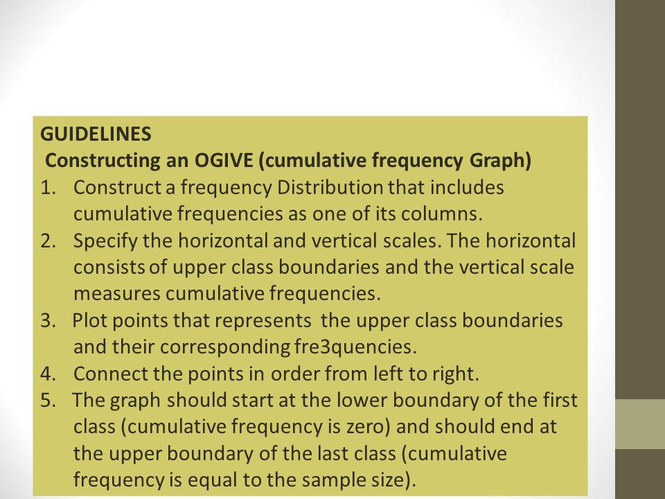GUIDELINES Constructing an OGIVE (cumulative frequency Graph)