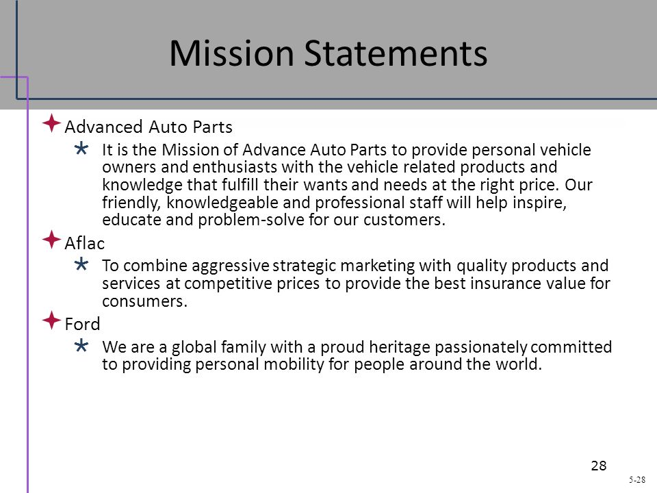 28 mission statements advanced auto parts aflac ford