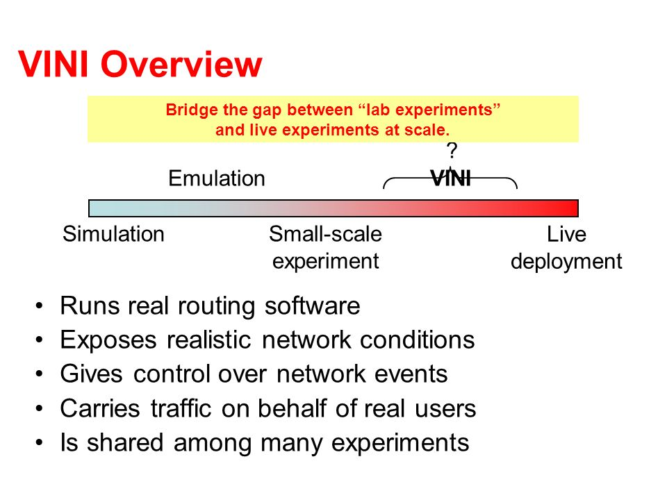 VINI Overview Runs real routing software