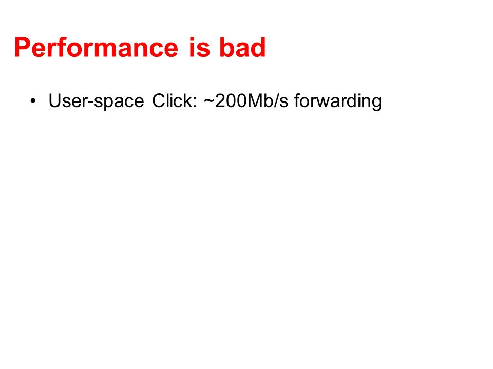 Performance is bad User-space Click: ~200Mb/s forwarding