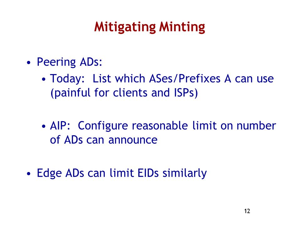 Mitigating Minting Peering ADs: