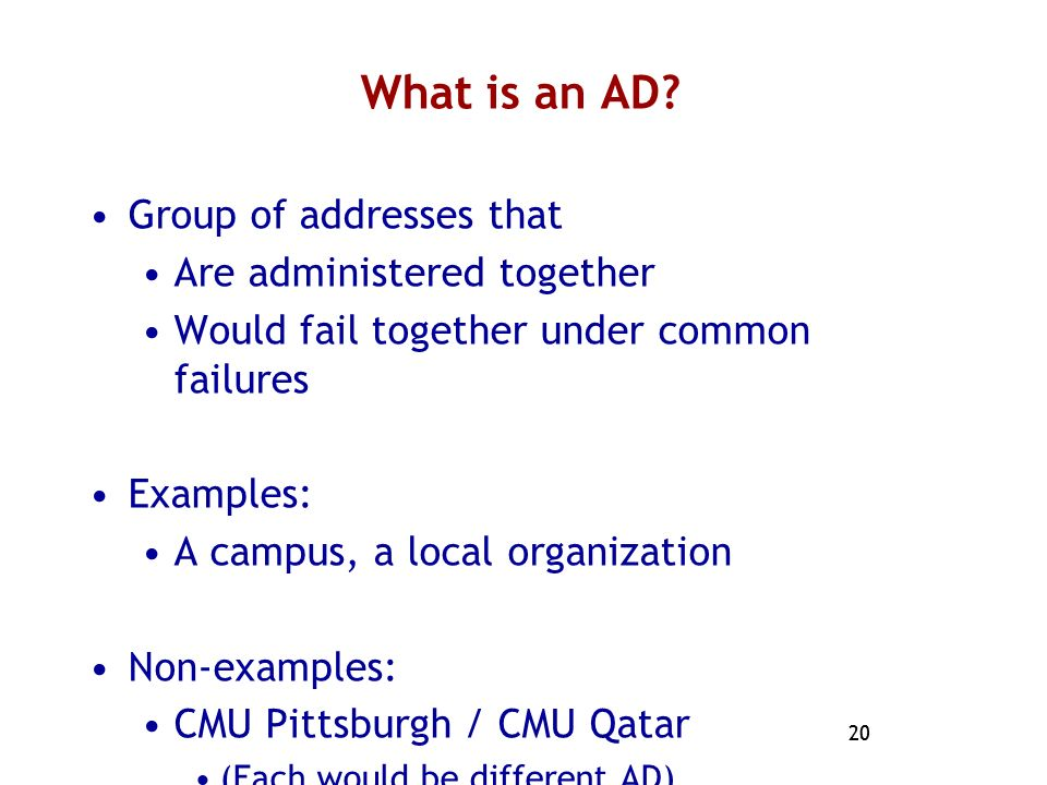 What is an AD Group of addresses that Are administered together