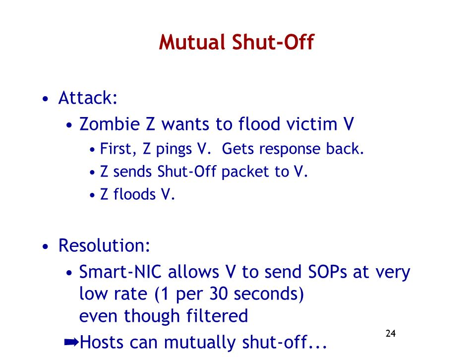 Mutual Shut-Off Attack: Zombie Z wants to flood victim V Resolution: