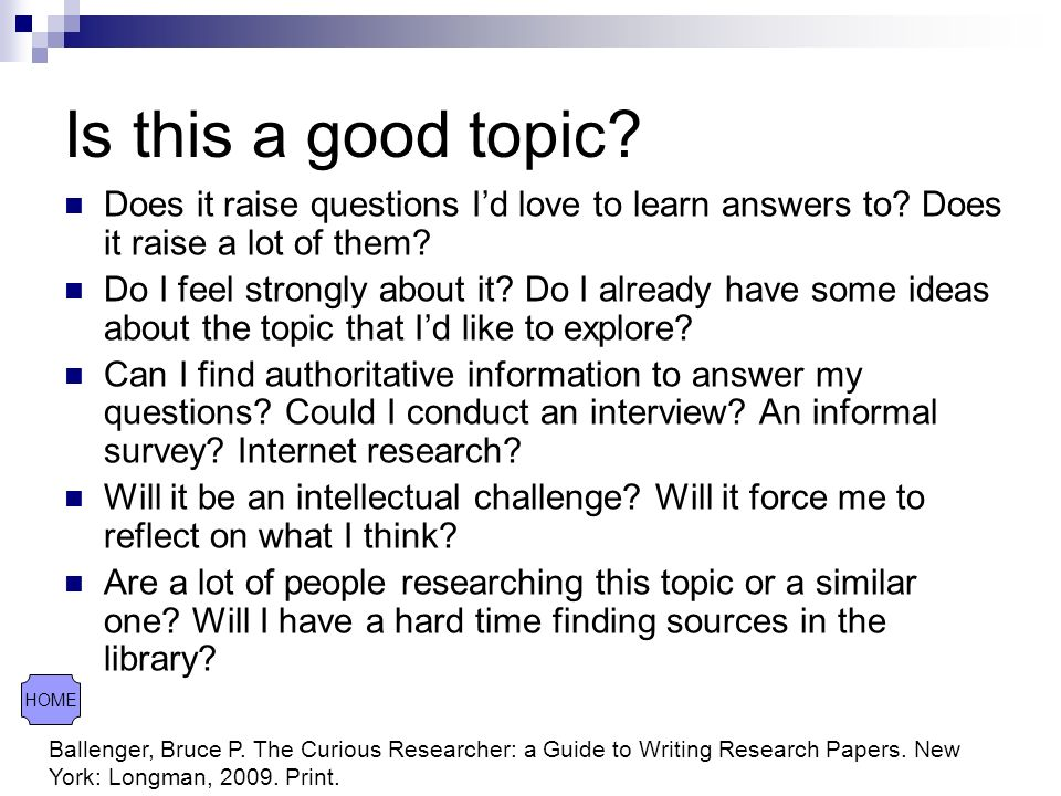 good topic questions for a research paper
