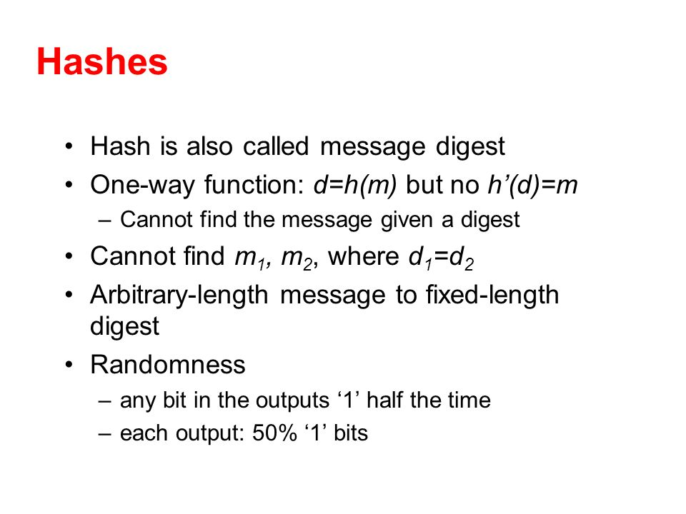 Hashes Hash is also called message digest