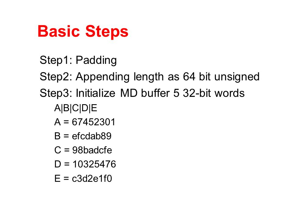Basic Steps Step1: Padding Step2: Appending length as 64 bit unsigned