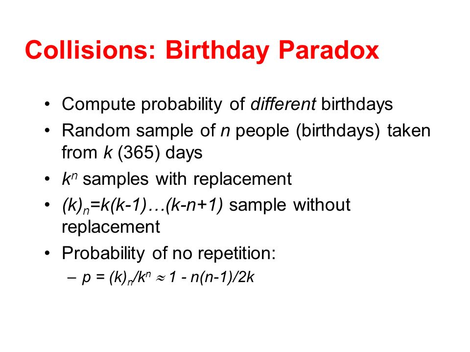 Collisions: Birthday Paradox
