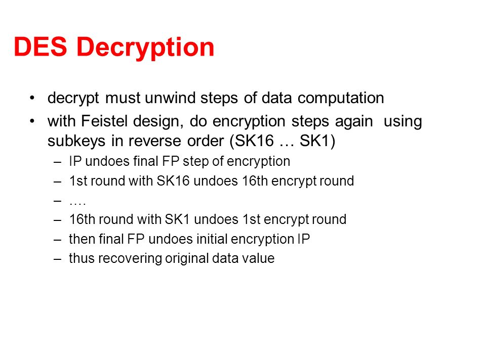 DES Decryption decrypt must unwind steps of data computation