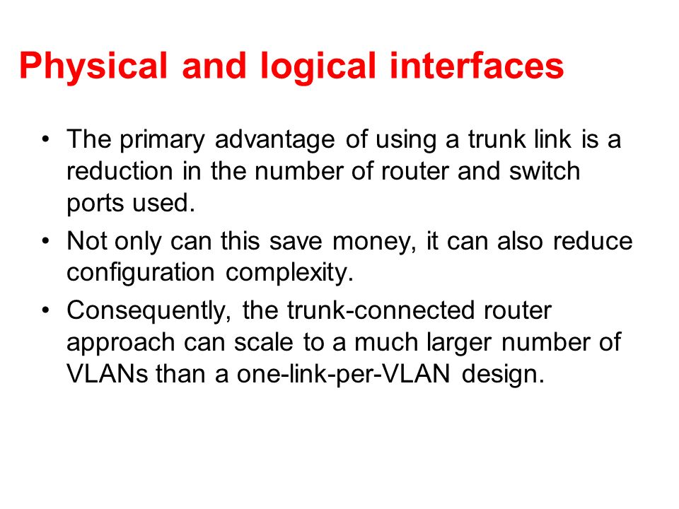 Physical and logical interfaces