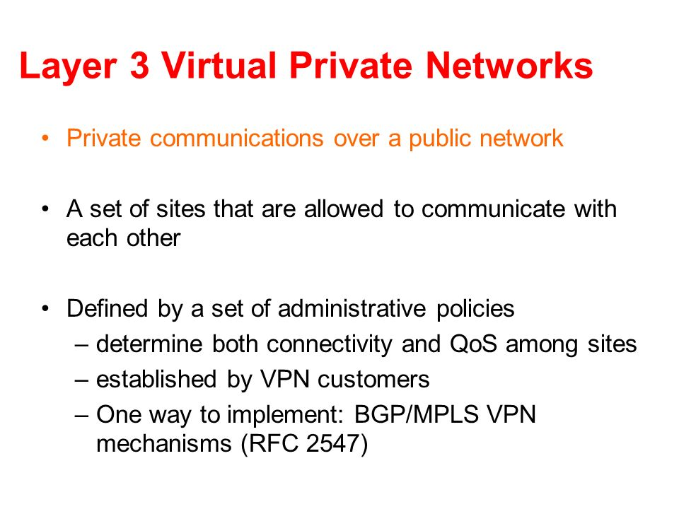 Layer 3 Virtual Private Networks