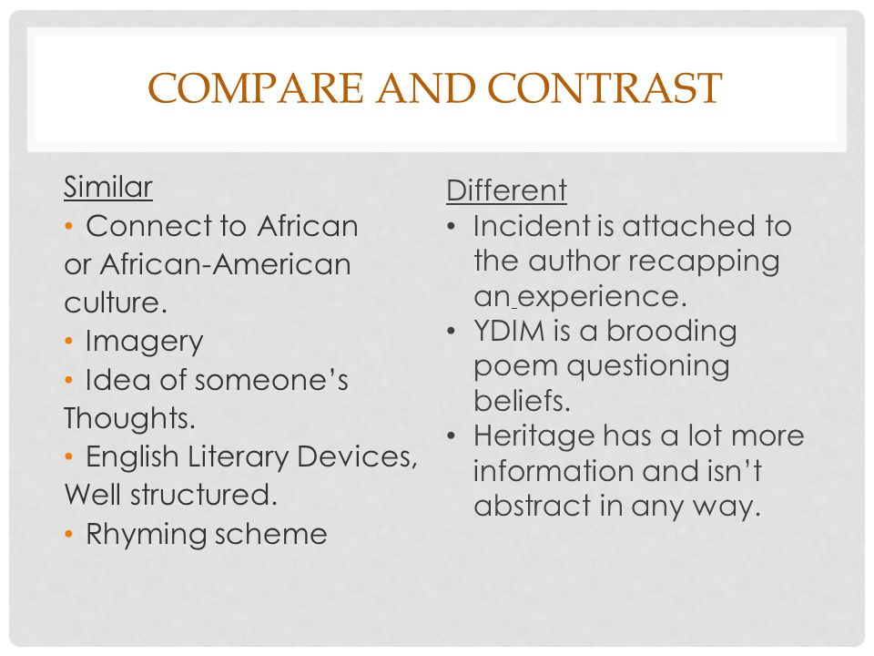 Compare and contrast Similar Connect to African or African-American