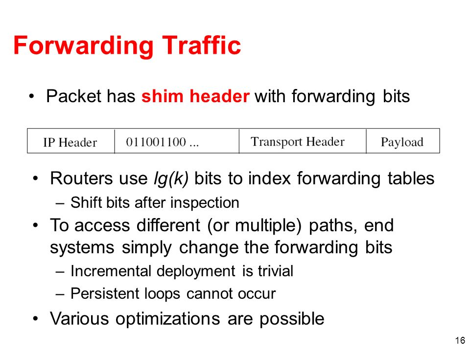 Forwarding Traffic Packet has shim header with forwarding bits
