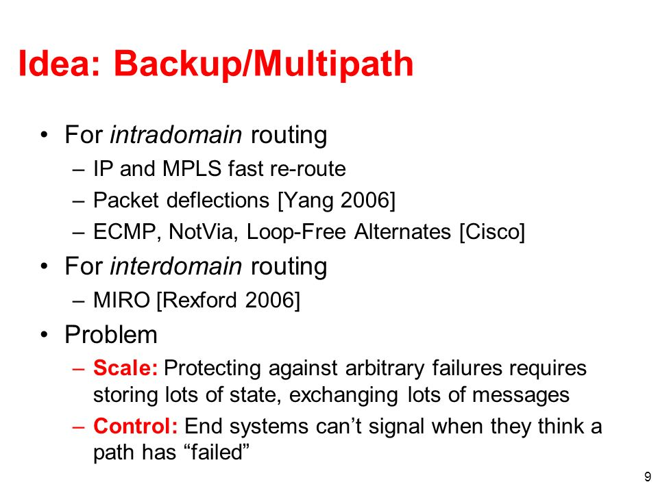 Idea: Backup/Multipath