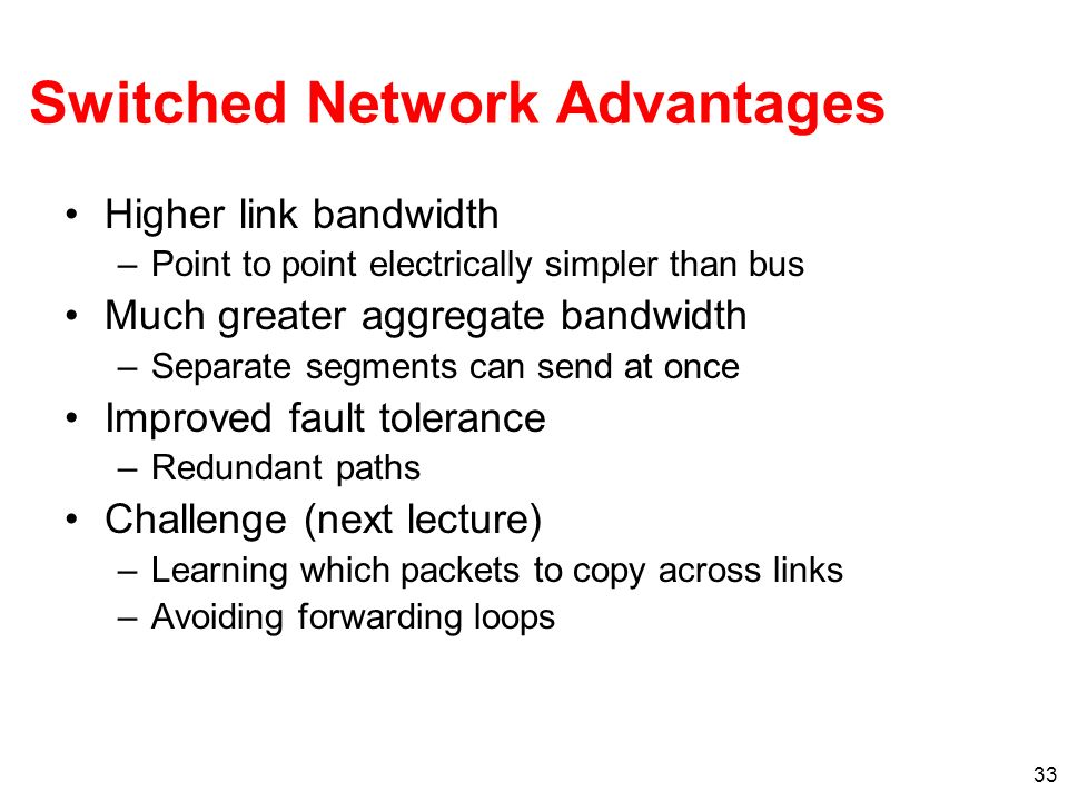 Switched Network Advantages