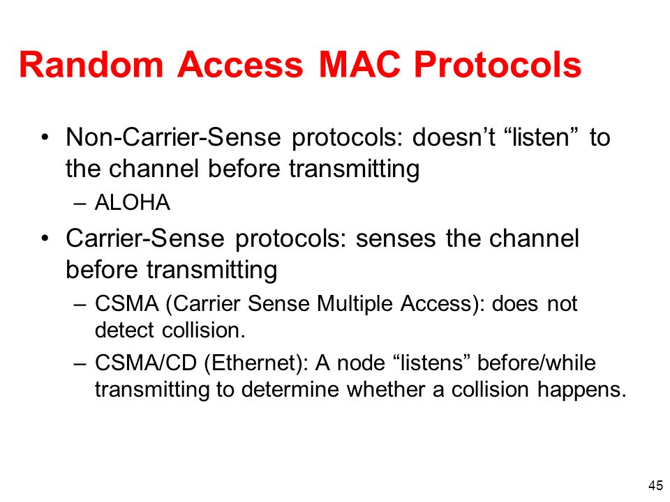 Random Access MAC Protocols