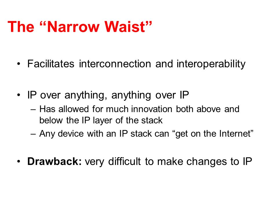 The Narrow Waist Facilitates interconnection and interoperability