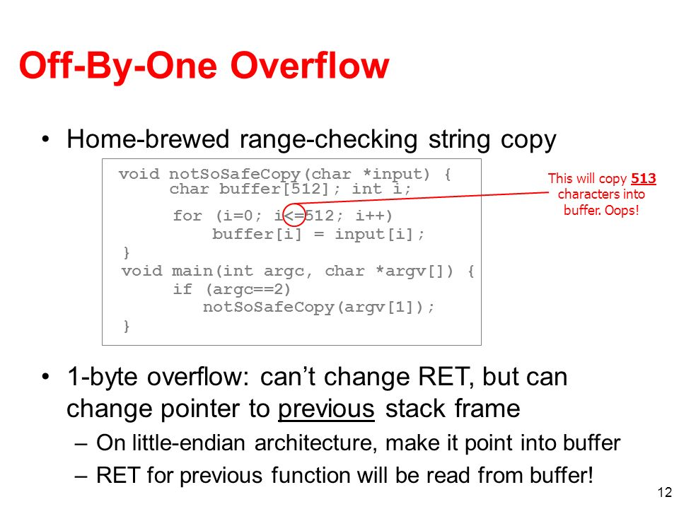 Off-By-One Overflow Home-brewed range-checking string copy