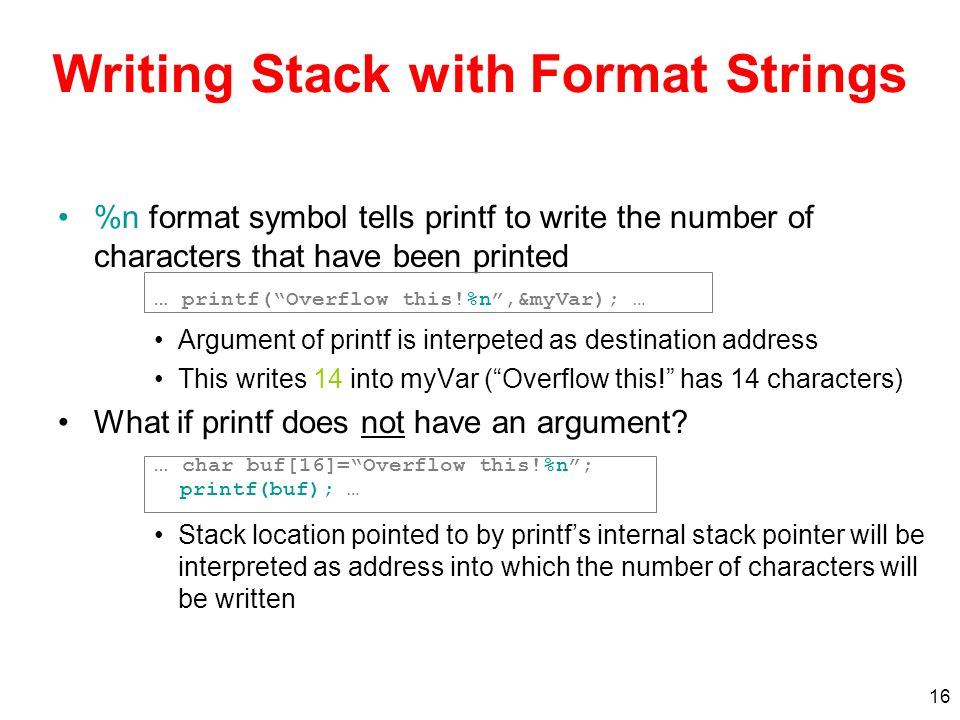 Writing Stack with Format Strings
