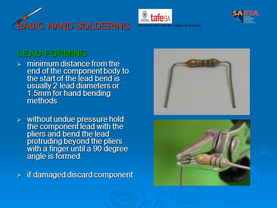 BASIC HAND SOLDERING LEAD FORMING