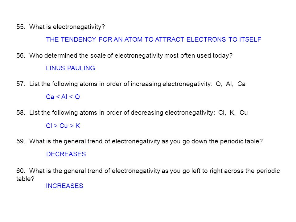 55. What is electronegativity