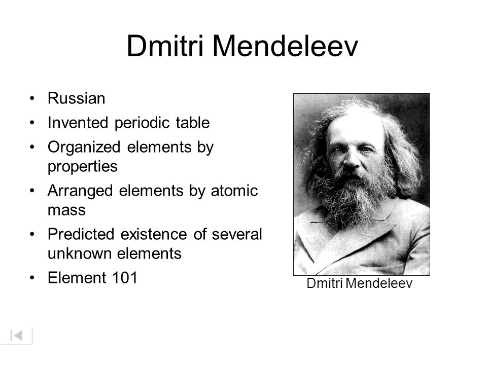 Dmitri Mendeleev Russian Invented periodic table
