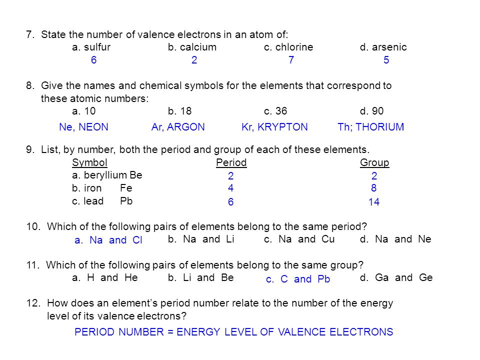 7. State the number of valence electrons in an atom of:
