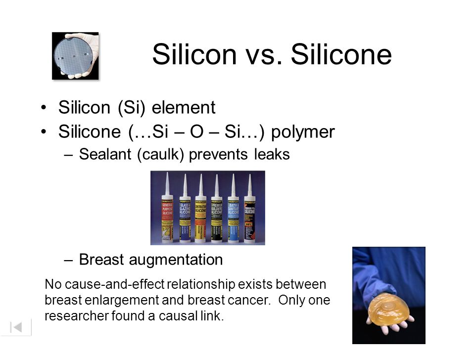 Silicon vs. Silicone Silicon (Si) element