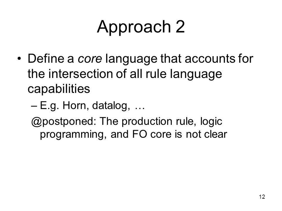 Approach 2 Define a core language that accounts for the intersection of all rule language capabilities.