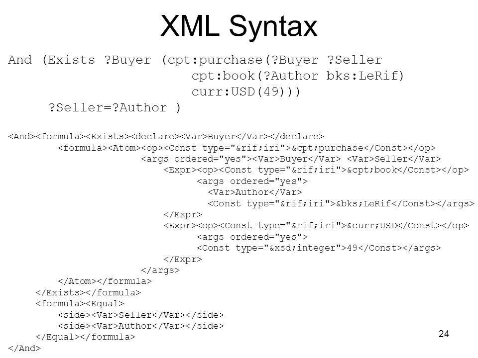 XML Syntax And (Exists Buyer (cpt:purchase( Buyer Seller