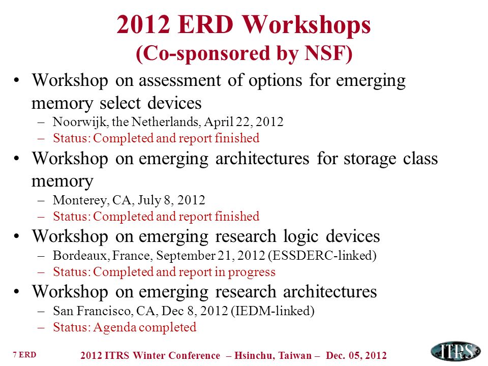 2012 ERD Workshops (Co-sponsored by NSF)