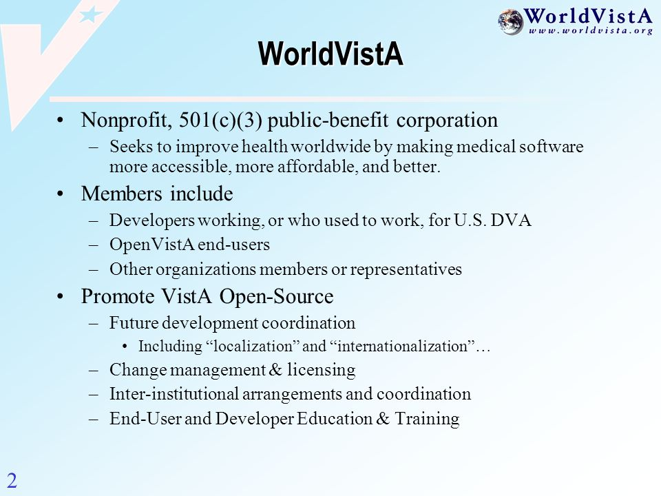 WorldVistA Nonprofit, 501(c)(3) public-benefit corporation