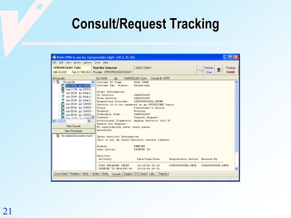 Consult/Request Tracking