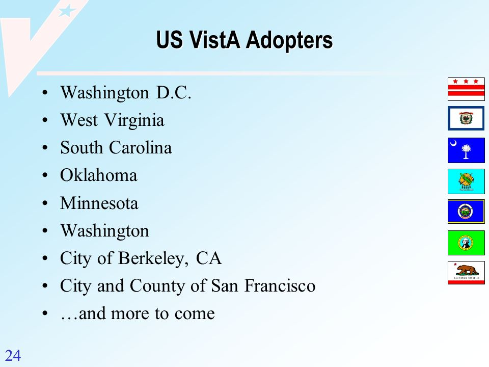 US VistA Adopters Washington D.C. West Virginia South Carolina